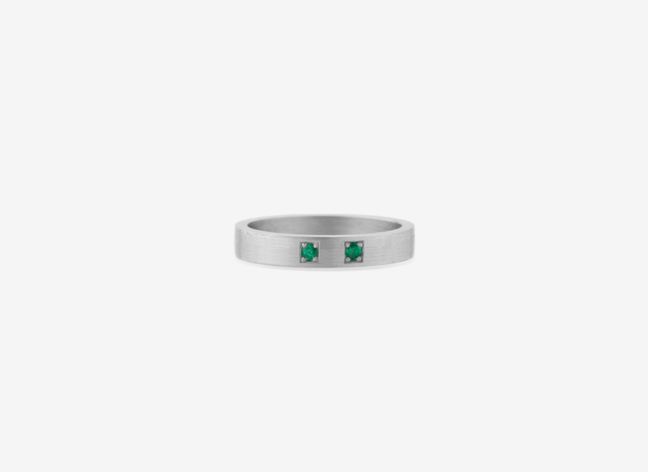 Classic Twin Gemstone Band in Sterling Silver, 4mm