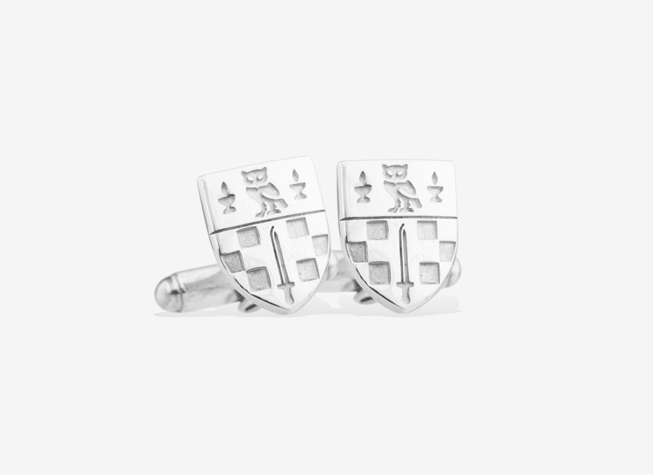 Caro Shield Cufflinks, Silver