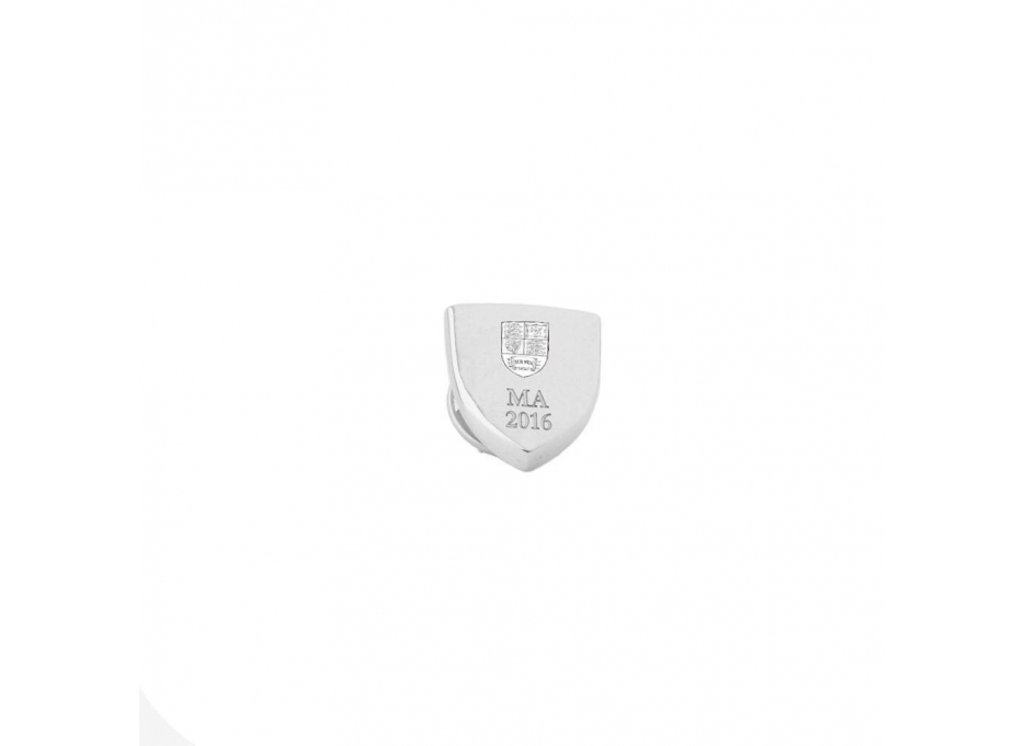 Personalised Shield Pin Badge, Sterling Silver