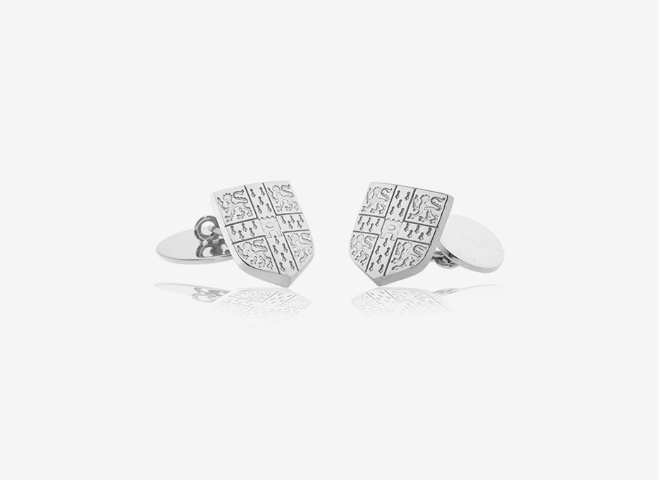 Gould Chain Link Shield Cufflinks | Sterling Silver