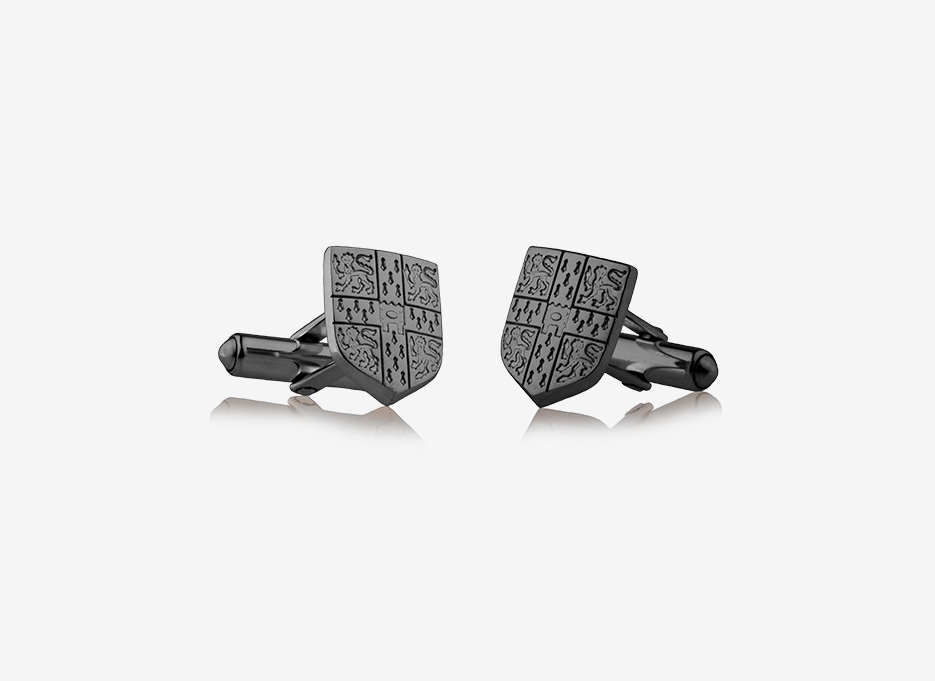 Caro Shield Cufflinks | Black Rhodium Plated Silver