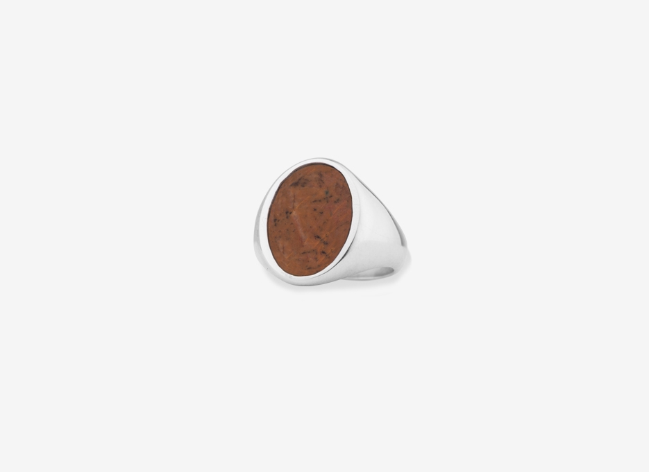 Brown Calcedony Sebald Seal in Sterling Silver, 14.5mm