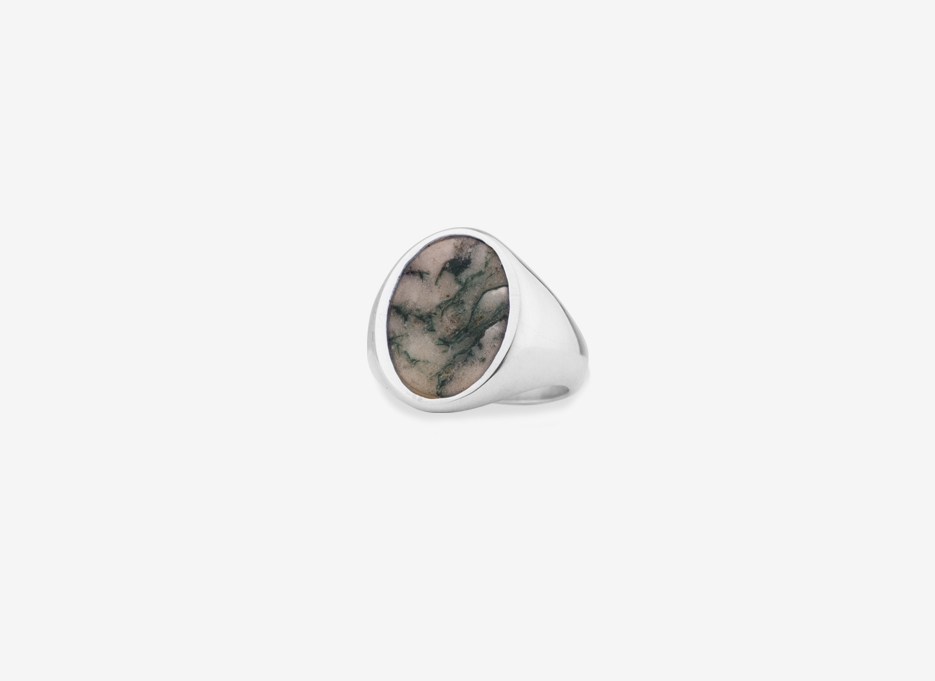 Dendritic Agate Sebald Seal in Sterling Silver, 14.5mm