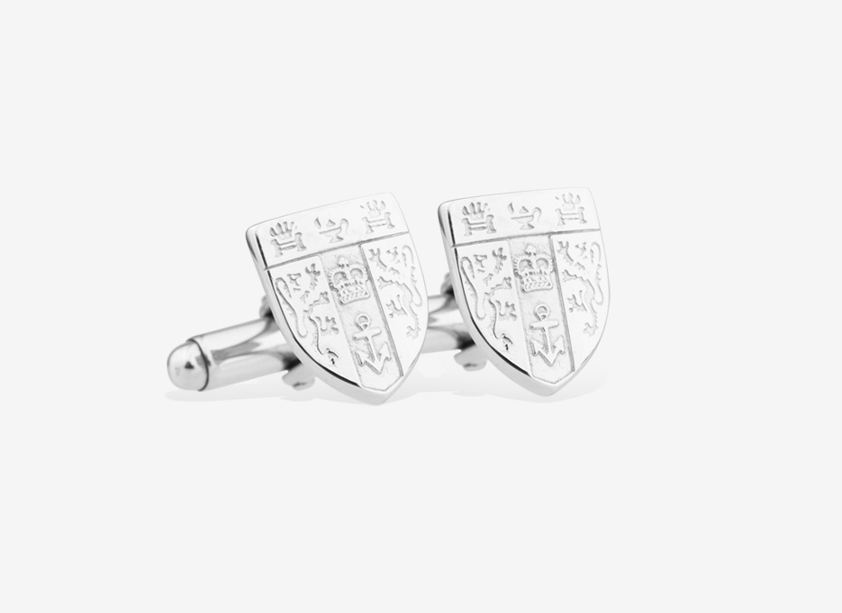 Caro Shield Cufflinks, Silver