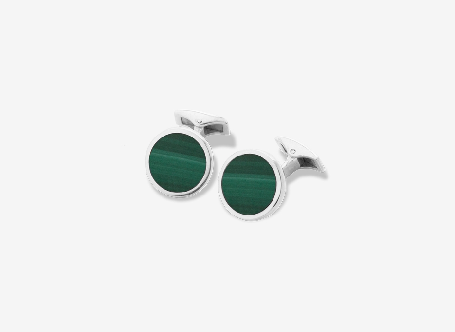 Malachite Carey Cufflinks, Sterling Silver