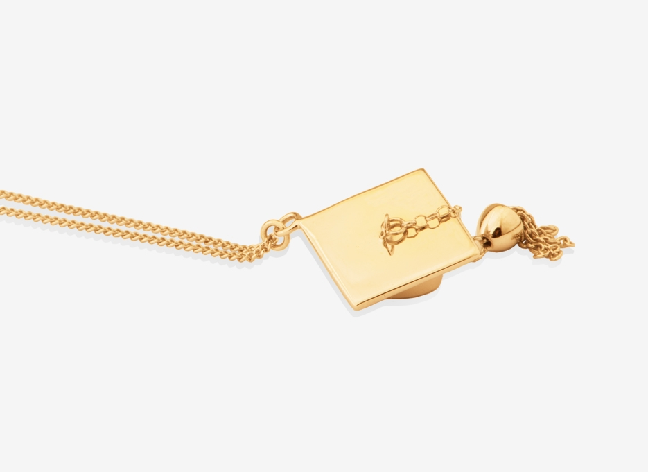 Mortar Board Pendant, 18ct Yellow Gold Plated Sterling Silver