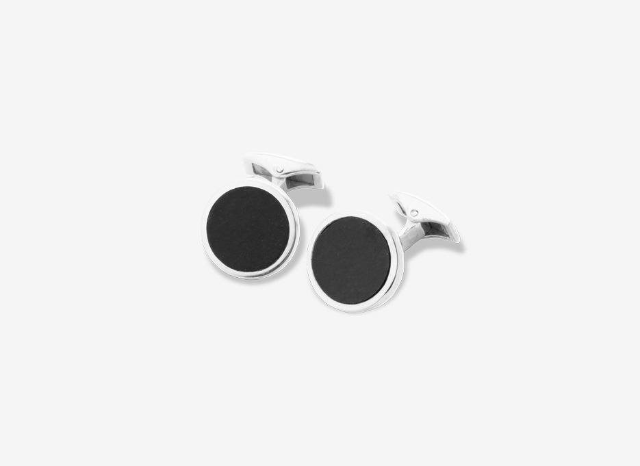 Onyx Carey Cufflinks, Sterling Silver