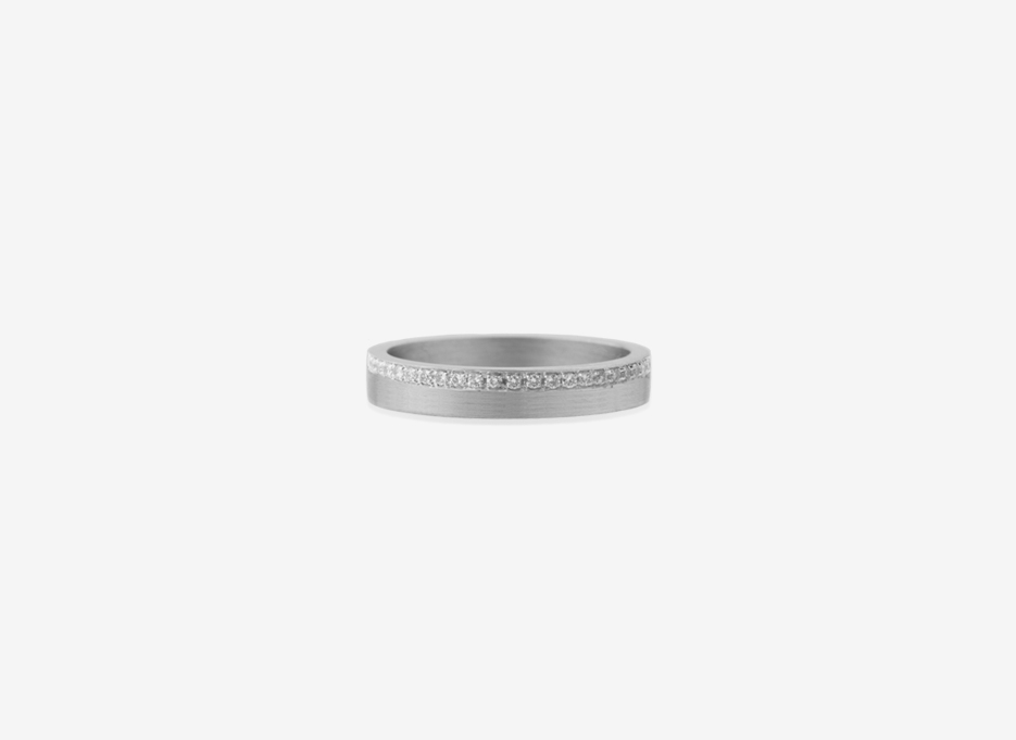 Diamond Line 4mm Band, Sterling Silver